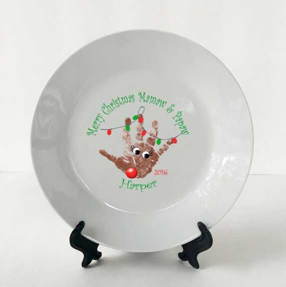 Reindeer plate made from baby's handprint