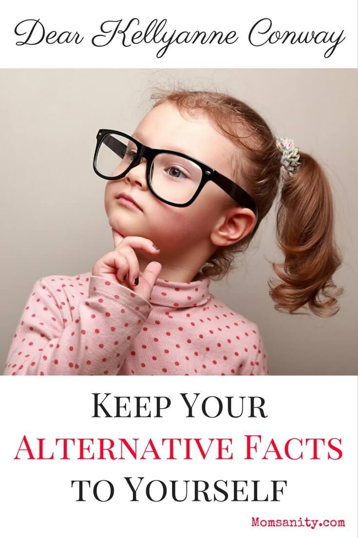 Little girl considering alternative facts