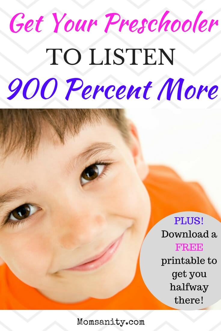 Happy preschooler listening to his mom