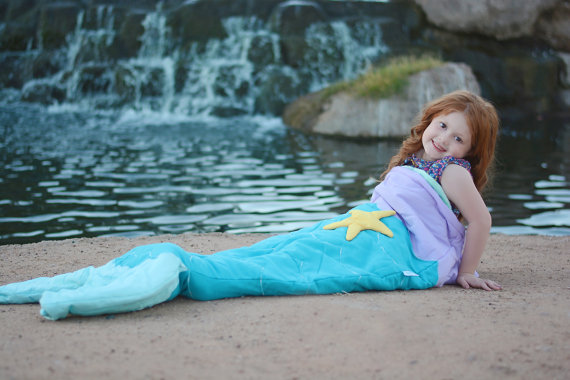 Mermaid-tail sleeping bag - campout at home